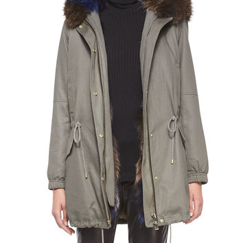Parka Jacket with Fur-Trim Hood, Army Green, Size: