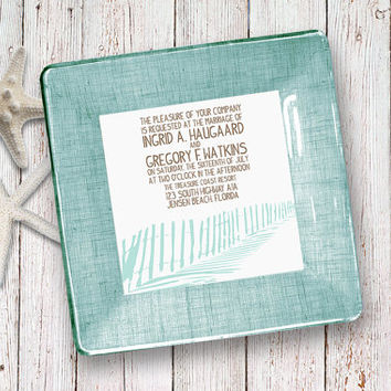Beach Wedding / Invitation / Keepsake / For Couples / Unique Wedding Gift / wedding plate / aqua