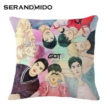 Kpop Got7 Cartoon and Painting Cushions Gifts for Friends Fashion Soft Linen Decorative Pillows Almofada for Home Sofa SMC1077T