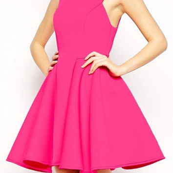Candy Color High-Waisted Skater Dress