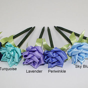 Blue Rose Pen Ribbon Flower Wedding Reception Shower Guest Book Handmade Lavender Turquoise Vintage Deep Blue