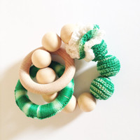 Crochet baby teething toy, A perfect Easter baby gift, Montessori baby toy