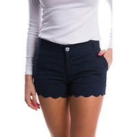 Scalloped Hem Poplin Short in Navy by Lauren James - FINAL SALE