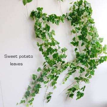 10PCS/LOT 6.5Feet Artificial Ivy Leaves Grape leaf Sweet potato leave Flower Vine Home Decor Party Wedding Decoration Fake Plant
