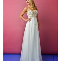 Strapless Ivory Embellished Gown
