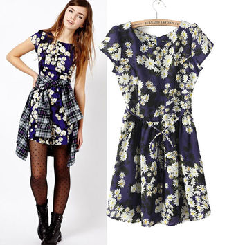 Short Sleeve Floral Sheath Mini Bodycon Dress