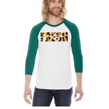 Fresh Cheetah Print -  3/4 Sleeve Raglan Shirt