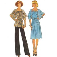 Vintage Sewing Pattern Dress Caftan Top Angel Sleeve Uncut Size 18  XL