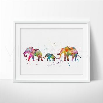 Elephant Family Watercolor Art Print