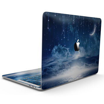 Vivid Blue Falling Stars in the Night Sky - MacBook Pro with Touch Bar Skin Kit