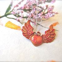 red Heart pendant heart necklace  heart jewelry wings necklace for her