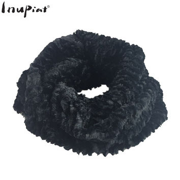 INUPIAT Women's Scarf 2017 New Arrival Winter Fake Fur Ring Pattern Scarves High Quality Neck Warmer Faux Fur Scarf for Woman