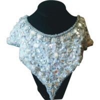 Vintage Silver Sequin and Beaded Glass Collar with Prong Set Rhinestones