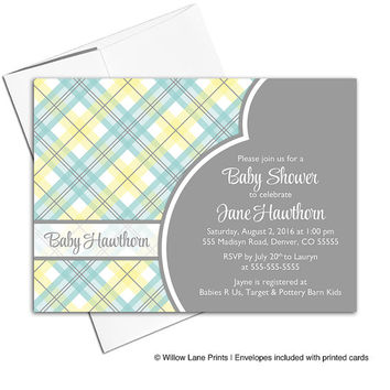 Gender neutral baby shower invitation printable | aqua, yellow and gray baby shower invite plaid | DIY digital or printed cards - WLP00713