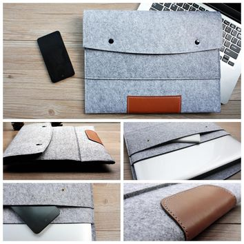 11,13,15,17 17.3 inch Wool Felt Hand Hold Notebook Laptop Sleeve Bag Case Carrying Handle Cover For Macbook Air/Pro/Retina