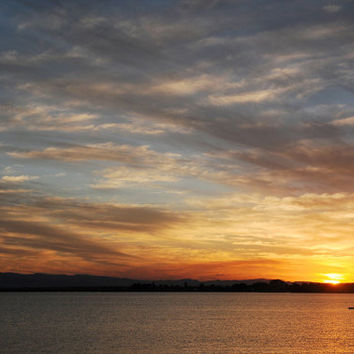 Sunset Photography, Beach Photography, Ocean Photography, Clouds, Sunset, Canoe, Paddle, 4 x 6, 5 x 7 Fine Art Photographic Print