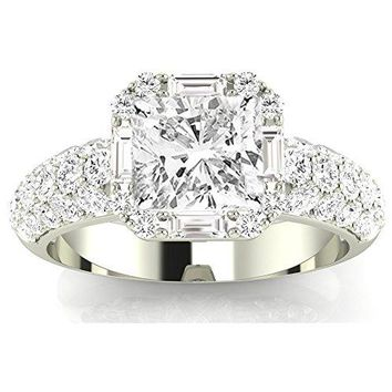 d.1.75 Ctw 14K White Gold Designer Popular Halo Baguette Round GIA Certified Diamond Engagement Ring Cushion Cut (1 Ct I Color VS1 Clarity Center Stone)