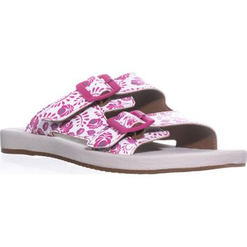 Clarks Paylor Myra Double Buckle Slide Sandals, Fuchsia, 9 US / 40 EU