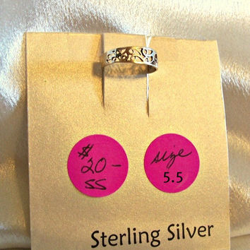 Sterling Silver Filigree Ring Jewelry Size 5.5