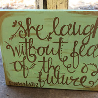 Proverbs 31 painting // green background with gold lettering // 11x14 canvas // MADE TO ORDER