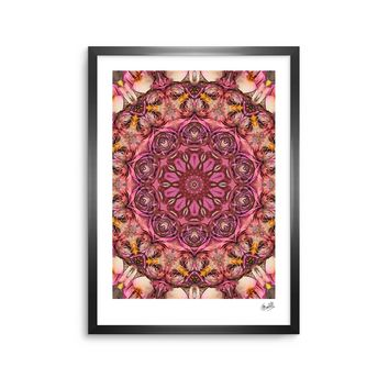 "Justyna Jaszke ""Mandala Pink Space"" Pink Red Abstract Pattern Digital Mixed Media Framed Art Print"