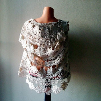 Upcycled Doily Bolero/shrug, Handcrochet  Sleeveless  Sweater; vintage recycled lace