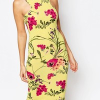 Club L | Club L Racer Front Midi Dress in Bright Floral Print at ASOS