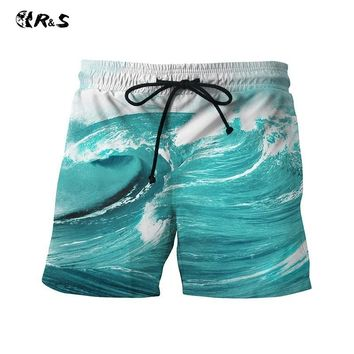 R&S 2018 New Beach Shorts Polyester Printed Swimwear Quick Drying Swimsuit Leisure Sports Men's Pants Loose Soft Trunks For Men