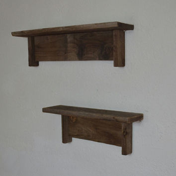 Rustic reclaimed wall shelves barnwood dark patina
