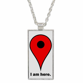 Google Maps Pin Pendant Necklace - I Am Here