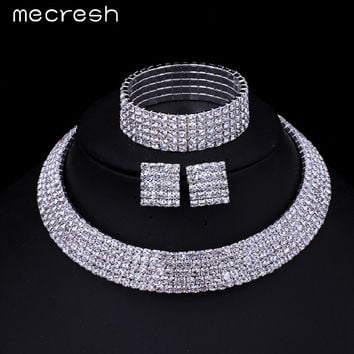 Mecresh Rhinestone Silver Plated Classic Five Row Necklace Earrings Bracelets Bridal Wedding Jewelry Sets TL294+SL090