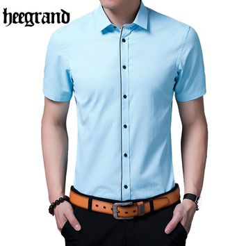 HEE GRAND Men's Solid Color Short Sleeve Button Down Shirt