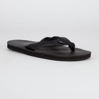 Rainbow Smooth Leather Mens Sandals Black  In Sizes