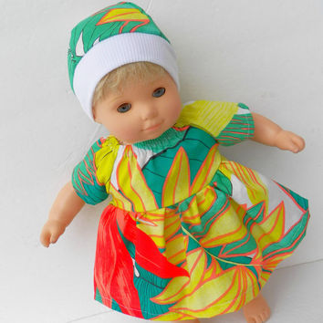 "Bitty Baby Doll Clothes Twin Girl or Baby Doll 15"" American Girl Green Yellow Red Black Tropical Hawaiian Print Peasant Dress & Cap (hat)"