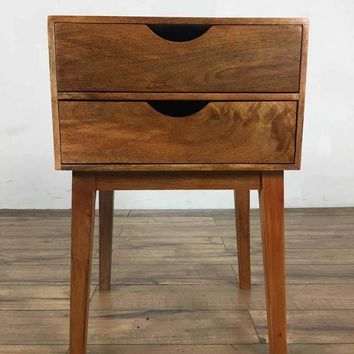 Mid-Century Modern Style Wood Two-Drawer End Table