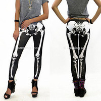 Skeleton Leggings Skull Skeletal Bones Boney Pants Fashion S M L