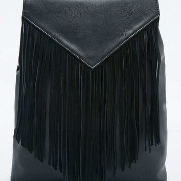 Black Suede Fringe Backpack - Urban Outfitters