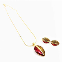Red and Gold Diamond Dust, Necklace, Earrings, Vintage Jewelry Set
