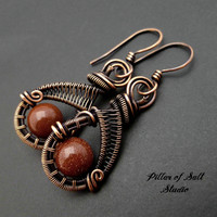 Brown Goldstone and copper woven wire earrings