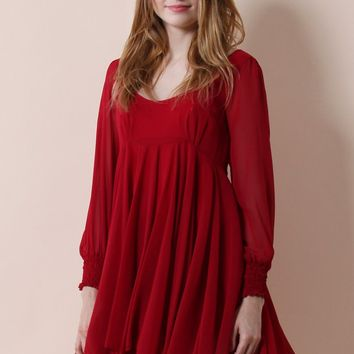 Sway in Love Chiffon Dress in Red