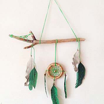 DreamCatcher Boho Wall Hanging Home Decor Feather With Tribal Wooden Natural Talisman Green Dreamcatcher