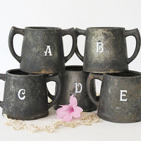 Vintage Silver Plate Metal Pots - Stenciled - Set of 5 - Heavy Rustic Patina