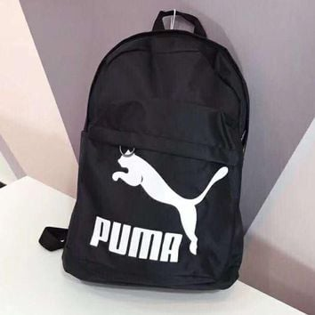 PUMA Classic Fashionable Woman Men Daypack Bookbag Travel Backpack Black