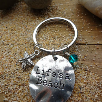 Life's a Beach Starfish Ocean Nautical Charm Keychain