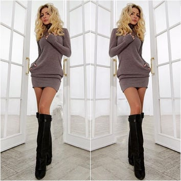 Women Long Sleeve Thumb Out Dress With Pockets Winter Clothes Dress Fall Women's Clothing Sexy Office Dress Gray/Purple S-XL