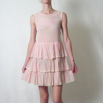 1920s SHEER PINK layered lace flapper dress xs by TheLovedOne