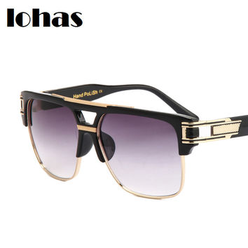 Men Women Brand Punk Metal Sunglasses 2016 Fashion Vintage Designer Luxury Mirror Sun glasses Square Large Eyewear De Sol Gafas