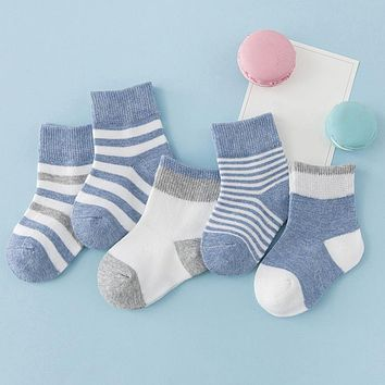 5 Pairs Socks Sets Baby Boys Girls Autumn Winter Cotton Candy Colors Stripes Breathable Stylish Infant Toddler Kids Soft Sock