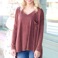 Acid Wash Slouchy Long Sleeve Pocket Top {Chestnut}