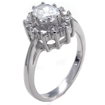 Sterling Silver 1 carat Oval Cut and Round Cut CZ Halo Engagement Ring Size 5-9